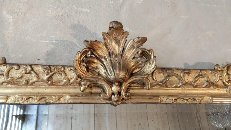 French 18th Century Louis XV Giltwood Mirror In Good Condition For Sale In Lectoure, Occitanie
