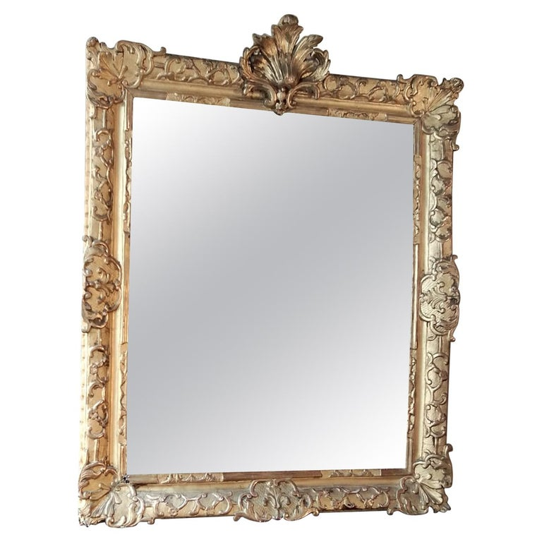 French 18th Century Louis XV Giltwood Mirror For Sale