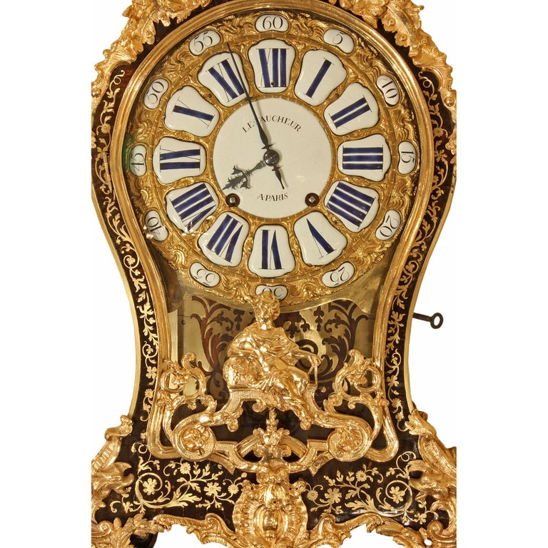 18th Century and Earlier French 18th Century Louis XV Period Boulle Cartel Clock For Sale