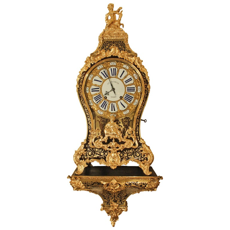 French 18th Century Louis XV Period Boulle Cartel Clock For Sale