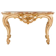 French 18th Century Louis XV Period Giltwood and Marble Console