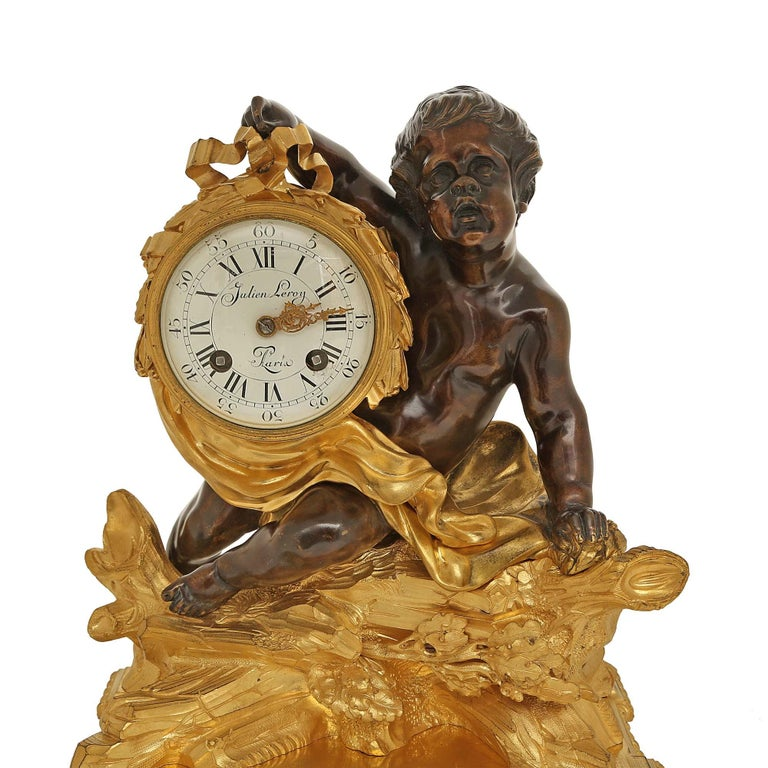 French 18th Century Louis XV Period/Louis XVI Ormolu and Patinated Bronze Clock For Sale 2