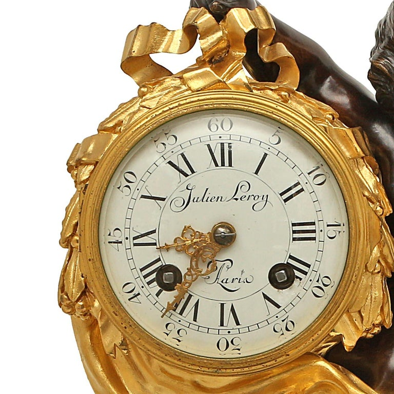 French 18th Century Louis XV Period/Louis XVI Ormolu and Patinated Bronze Clock For Sale 3