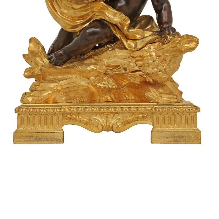 French 18th Century Louis XV Period/Louis XVI Ormolu and Patinated Bronze Clock For Sale 4