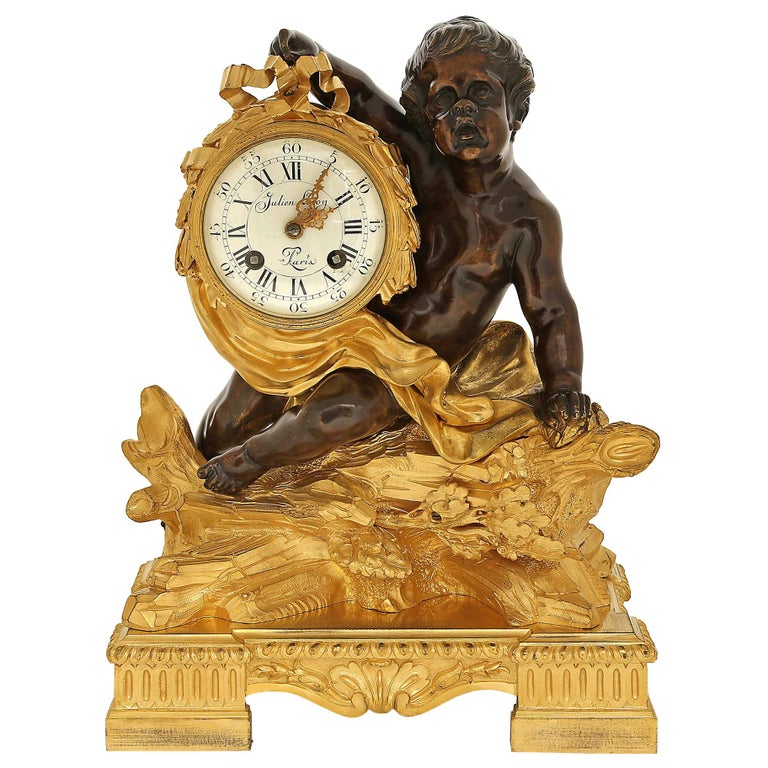 French 18th Century Louis XV Period/Louis XVI Ormolu and Patinated Bronze Clock For Sale