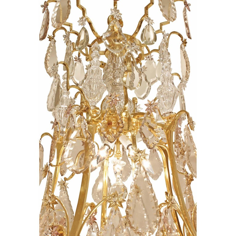 French 18th Century Louis XV Period Ormolu and Crystal Chandelier In Good Condition For Sale In West Palm Beach, FL