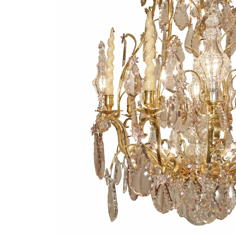 18th Century and Earlier French 18th Century Louis XV Period Ormolu and Crystal Chandelier For Sale