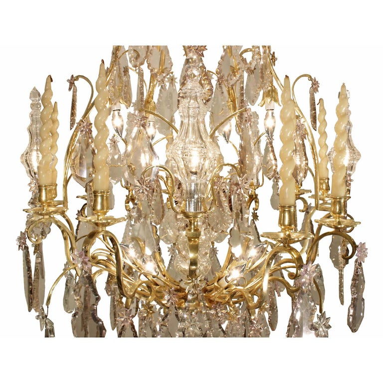 French 18th Century Louis XV Period Ormolu and Crystal Chandelier For Sale 1