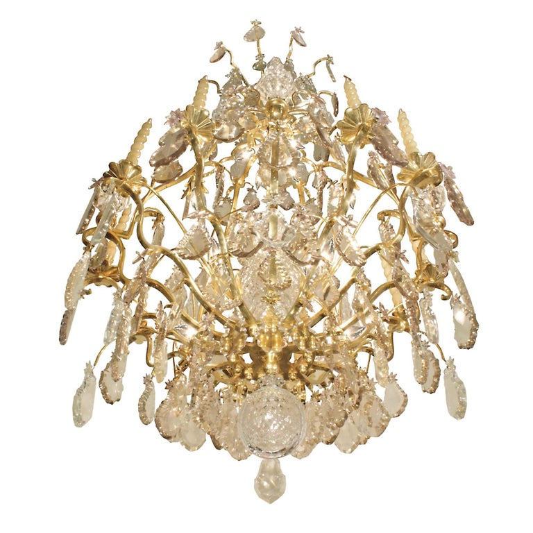 French 18th Century Louis XV Period Ormolu and Crystal Chandelier For Sale 2