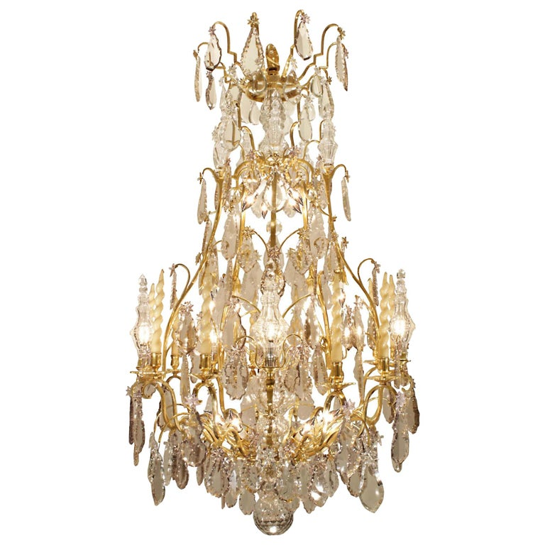 French 18th Century Louis XV Period Ormolu and Crystal Chandelier For Sale