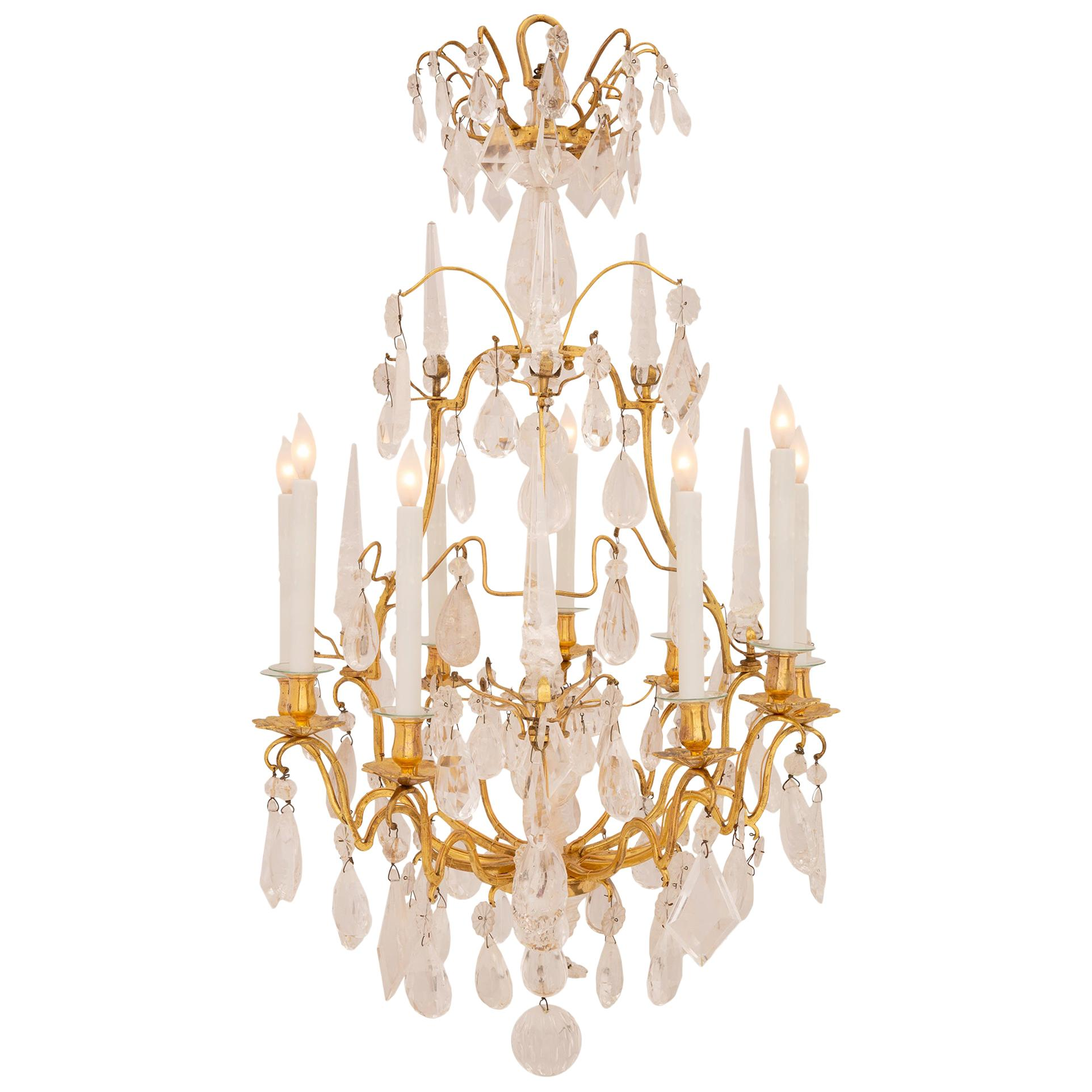 1950 colonial crystal chandelier. Cut glass shades