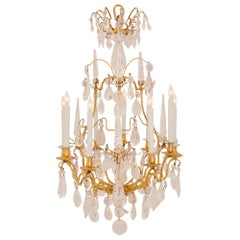 French 18th Century Louis XV Period Ormolu and Rock Crystal Chandelier