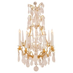 French 18th Century Louis XV Period Ormolu and Rock Crystal Nine-Arm Chandelier