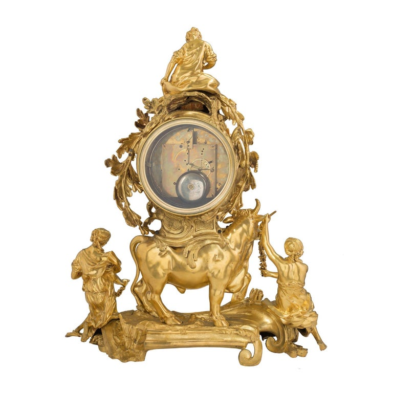 French 18th Century Louis XV Period Ormolu Clock For Sale 5