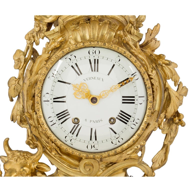 French 18th Century Louis XV Period Ormolu Clock In Good Condition For Sale In West Palm Beach, FL
