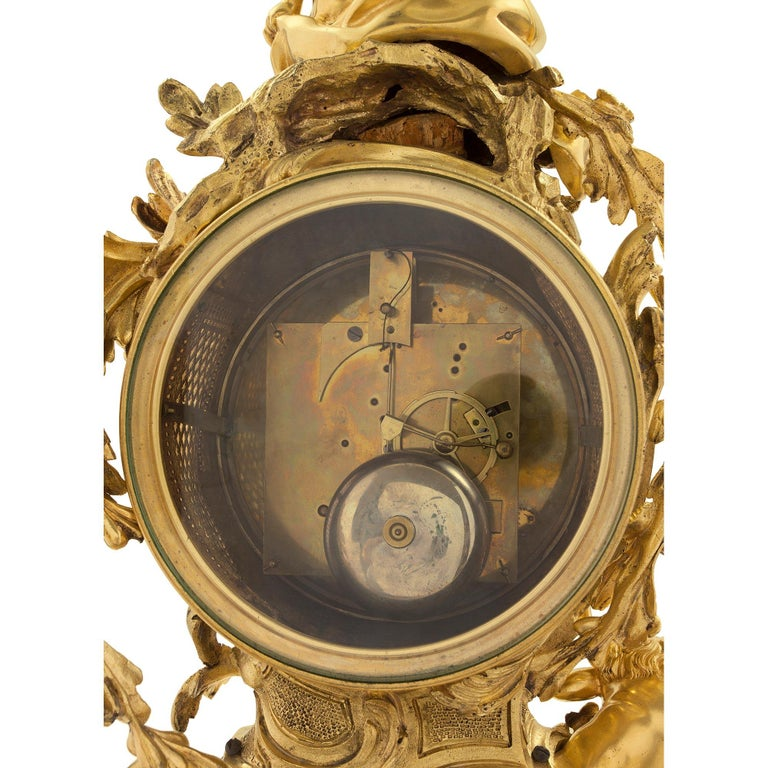 French 18th Century Louis XV Period Ormolu Clock For Sale 4