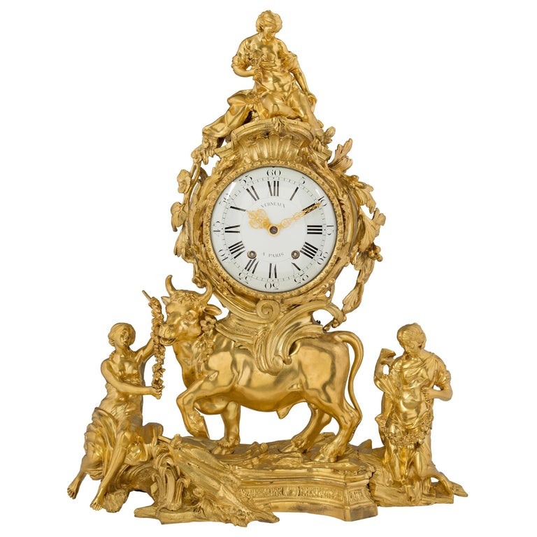 French 18th Century Louis XV Period Ormolu Clock For Sale