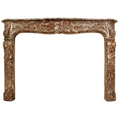 French 18th Century Louis XV Period Rouge Royal Marble Mantel