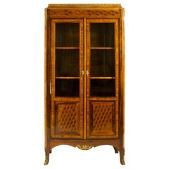 French 18th Century Louis XV Transition Period Cube Marquetry Vitrine or Library