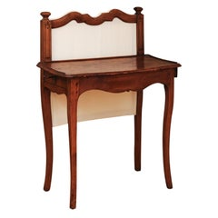 French 18th Century Louis XV Walnut Par-Feu Writing Table with Side Drawers