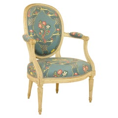 French 18th Century Louis XVI Painted Wood Armchair by George Jacob