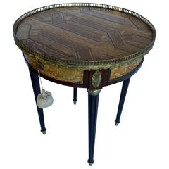 French 18th Century Louis XVI Parquet Bouillotte Side Table