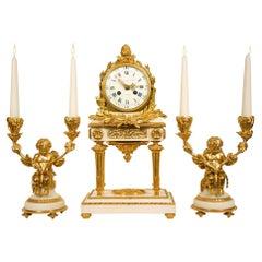 French 18th Century Louis XVI Period Carrara Marble and Ormolu Garniture Set