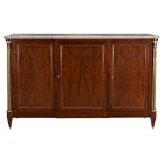 French 18th Century Louis XVI Period Flamed Mahogany and Marble Buffet