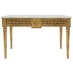 French 18th Century Louis XVI Period Giltwood and Carrara Marble Centre Table