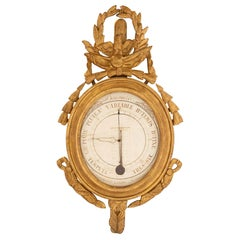French 18th Century Louis XVI Period Giltwood Barometer and Réaumur Thermometer