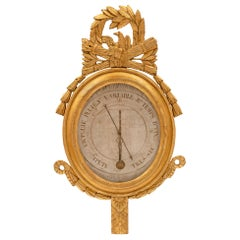 French 18th Century Louis XVI Period Giltwood Barometer Thermometer