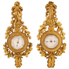 French 18th Century Louis XVI Period Giltwood Thermometer and Barometer