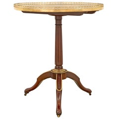 French 18th Century Louis XVI Period Mahogany, Ormolu and Marble Side Table
