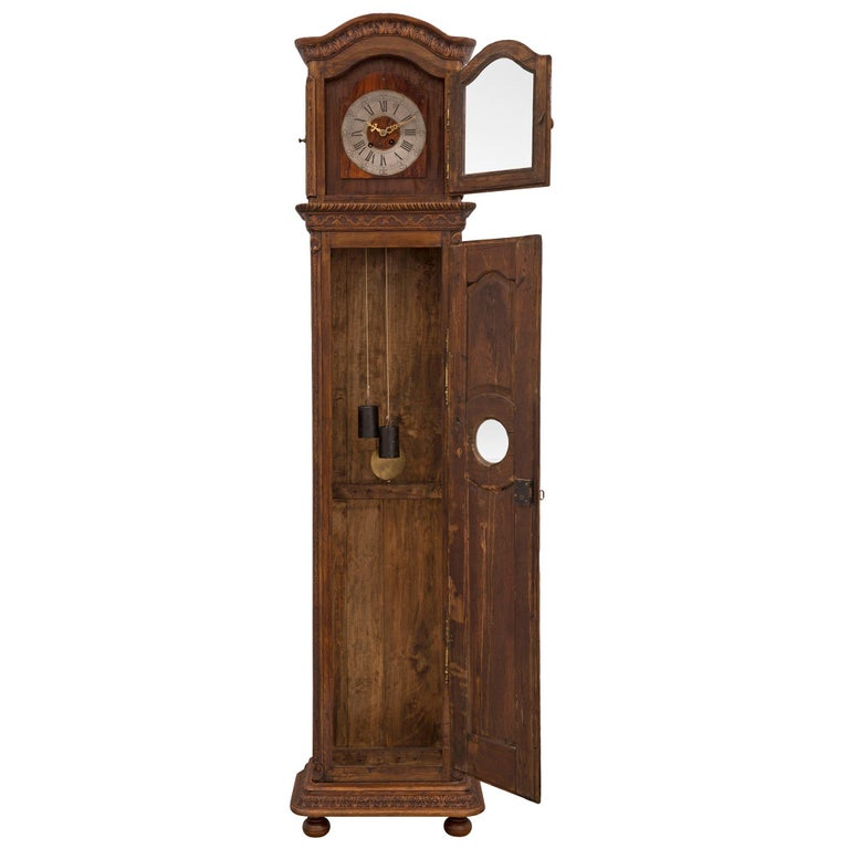 French 18th Century Louis XVI Period Oak Grandfather Clock In Good Condition For Sale In West Palm Beach, FL