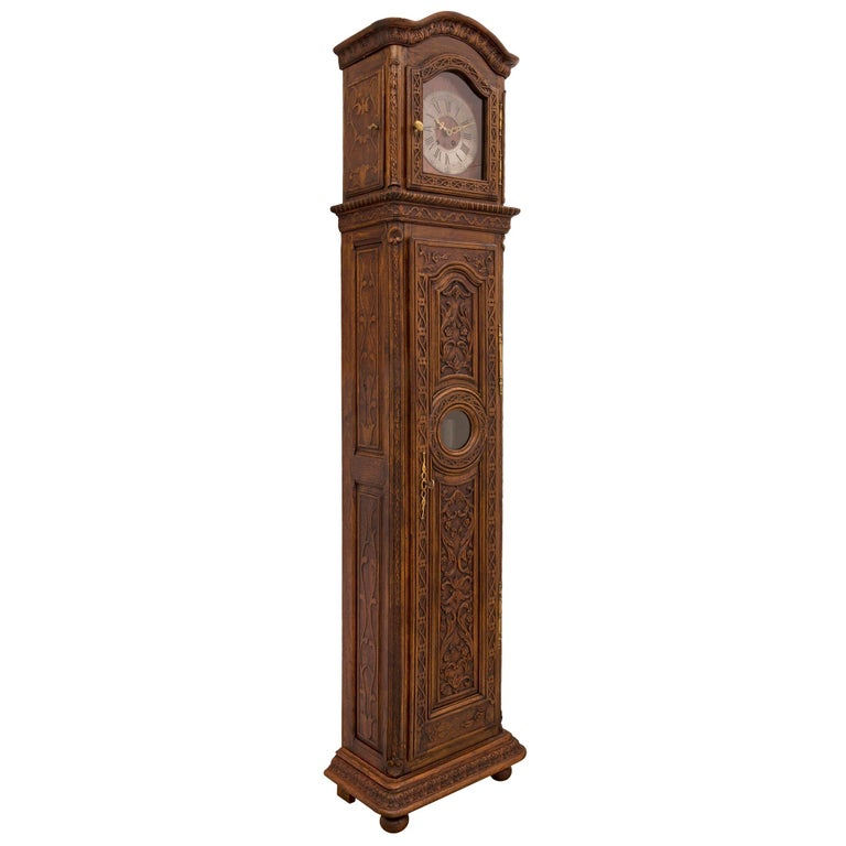 18th Century and Earlier French 18th Century Louis XVI Period Oak Grandfather Clock For Sale