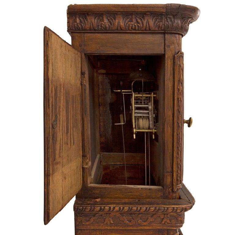 French 18th Century Louis XVI Period Oak Grandfather Clock For Sale 4