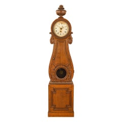 French 18th Century Louis XVI Period Oak Grandfather Clock