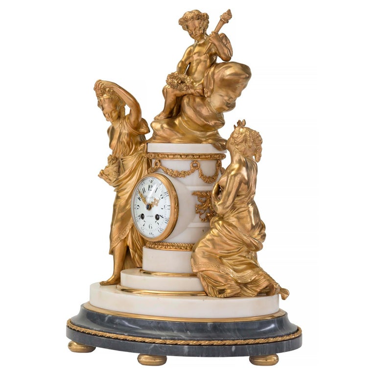 French 18th Century Louis XVI Period Ormolu and Marble Clock In Excellent Condition For Sale In West Palm Beach, FL
