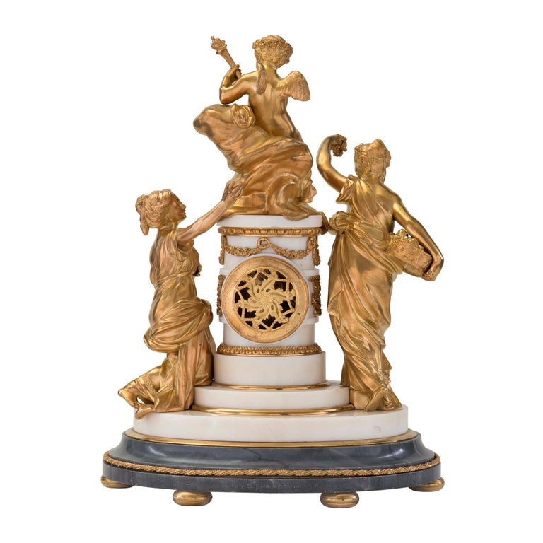 18th Century and Earlier French 18th Century Louis XVI Period Ormolu and Marble Clock For Sale