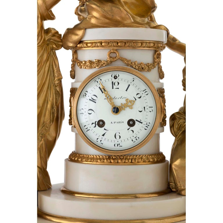French 18th Century Louis XVI Period Ormolu and Marble Clock For Sale 2