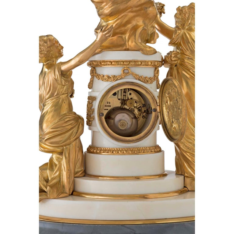 French 18th Century Louis XVI Period Ormolu and Marble Clock For Sale 3
