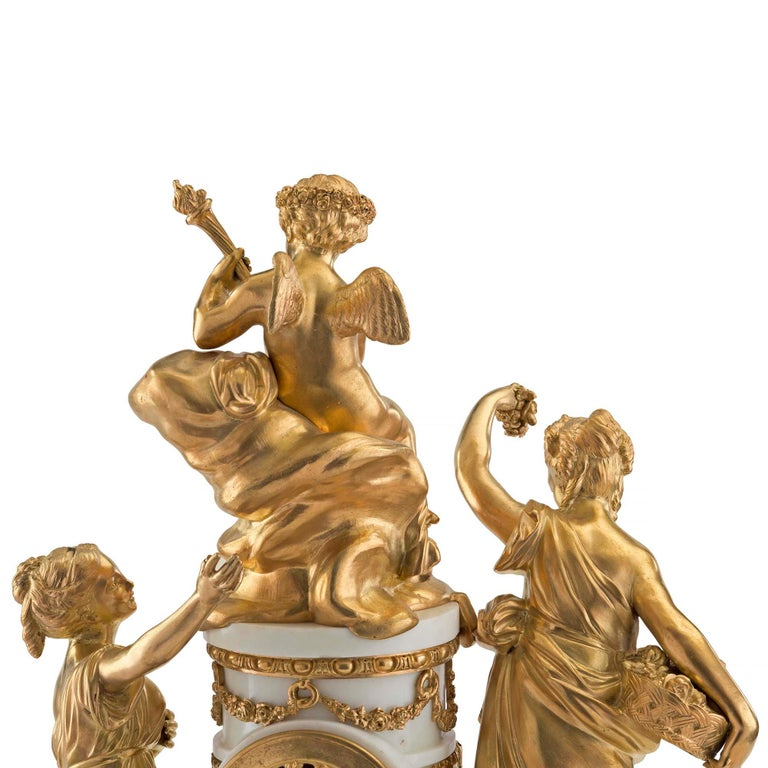 French 18th Century Louis XVI Period Ormolu and Marble Clock For Sale 4
