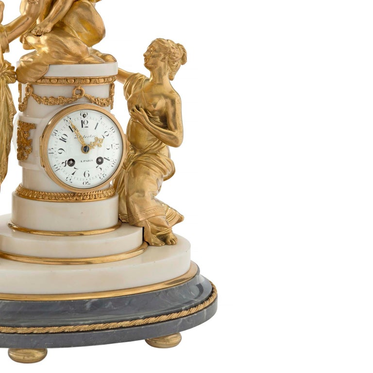 French 18th Century Louis XVI Period Ormolu and Marble Clock For Sale 5