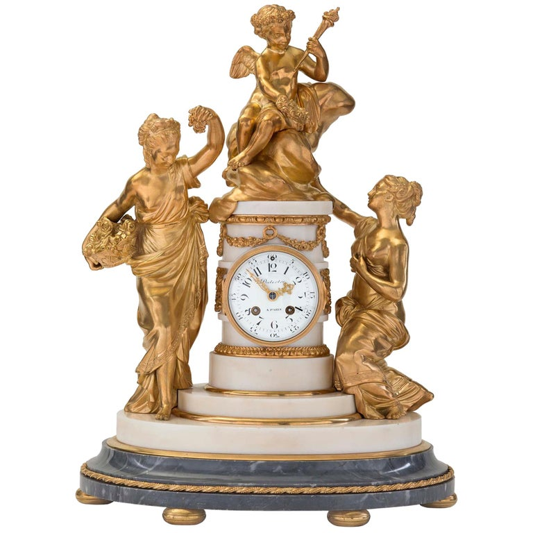 French 18th Century Louis XVI Period Ormolu and Marble Clock For Sale