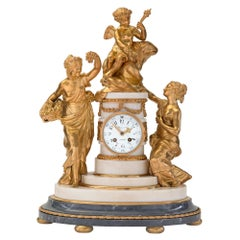 French 18th Century Louis XVI Period Ormolu and Marble Clock