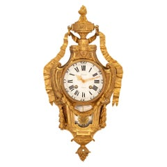 French 18th Century Louis XVI Period Ormolu and Silvered Bronze Clock