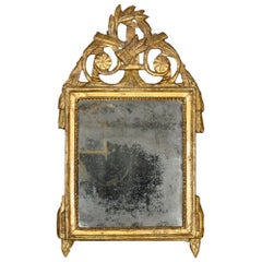 French 18th Century Louis XVI Period Patinated Green and Gilt Mirror