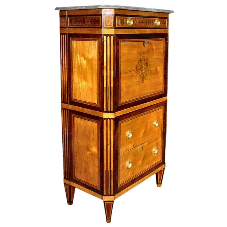 An elegant French 18th century Louis XVI period secretaire abattan. The secretary with two lower deep drawers is below the drop front designed with an intricate floral marquetry of exoticwoods and mother of pearl. The fruitwood inlay is both on the