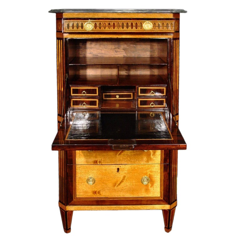 French 18th Century Louis XVI Period Secretaire Abattan In Excellent Condition For Sale In West Palm Beach, FL