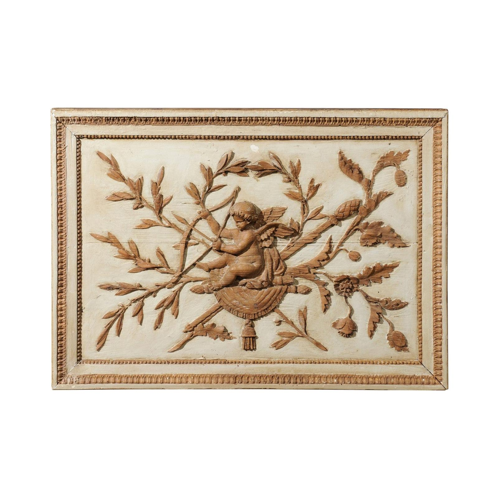 French 18th Century Louis XVI Period Wooden Panel with Carved Cherub and Foliage